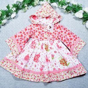 Jelly the Pug pink/white strawberry/cupcake dress